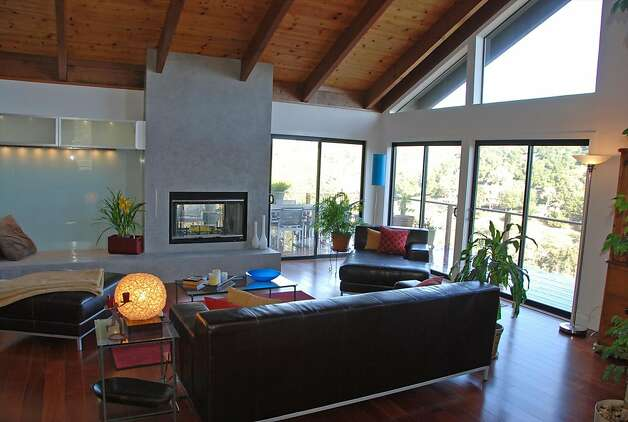 Rolling hills surround 4 bedroom contemporary in portola for 2 way fireplace
