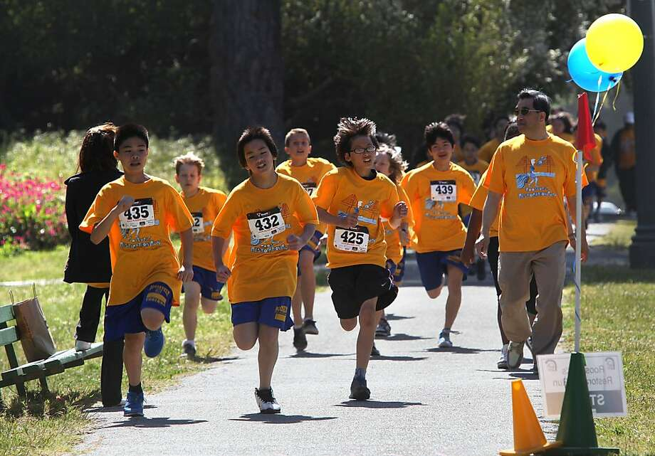 Children from Roosevelt Middle School including Simon Luu (front, left), Angus Li (front, middle) and Dion Chung (front, right) doing a 5k run in Golden Gate Park in San Francisco, Calif., on Friday, May 11, 2012. Photo: Courtesy Of SF California Histor, The Chronicle