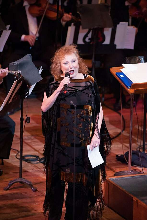 Beach Blanket Babylon star Val Diamond performs with Michael Tilson Thomas and the San Francisco Symphony in Barbary Coast & Beyond:Music from the Gold Rush to the Panama-Pacific International Exposition at Davies Symphony Hall. Photo: Kristen Loken