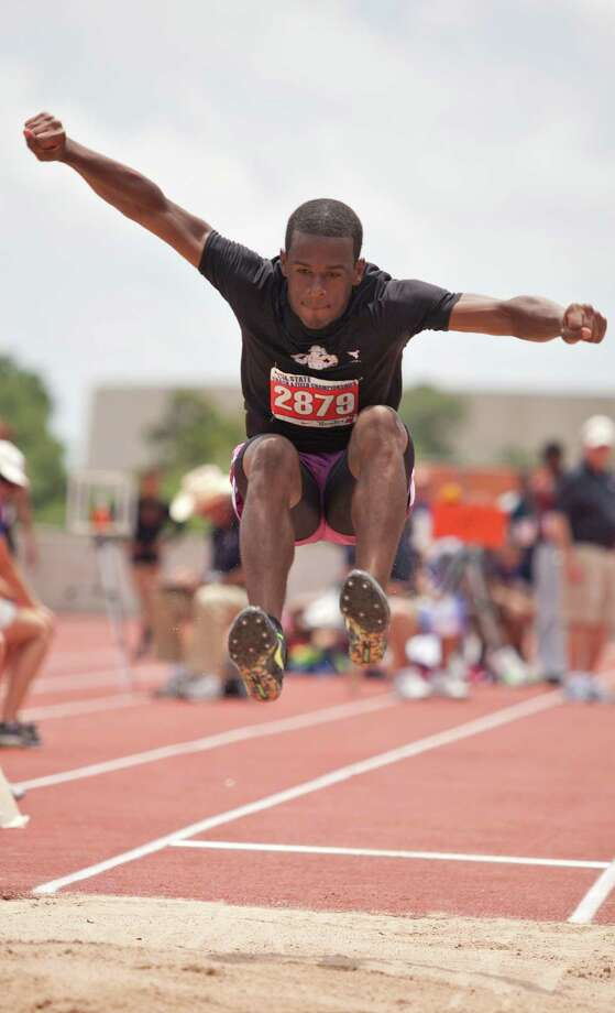 Floyd Bess of West Columbia Columbia takes a jump during the long jump event at the UIL 4A state track meet at Mike A. Myers Track & Soccer Stadium in Austin, Texas on May 11, 2012. Photo: Thao Nguyen, Houston Chronicle / Thao Nguyen