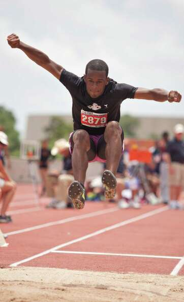 Floyd Bess of West Columbia Columbia takes a jump during the long jump event at the UIL 4A state tra