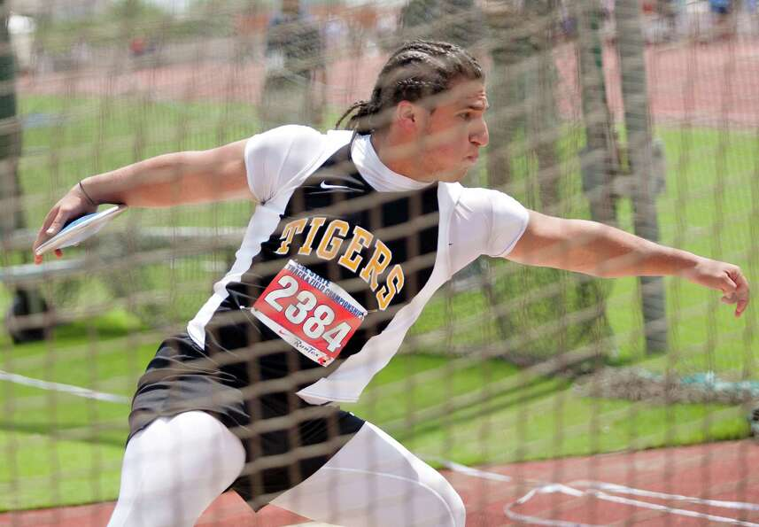 Roman Rodriguez of Houston Spring Woods prepares to throw the discus during the UIL 4A state track m