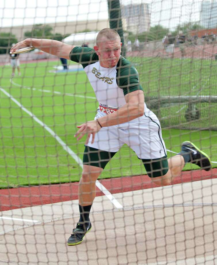 Hayden Reed of Orange Little Cypress-Mauriceville prepares to throw the discus during the UIL 4A state track meet at Mike A. Myers Track & Soccer Stadium in Austin, Texas on May 11, 2012. Photo: Thao Nguyen, Houston Chronicle / Thao Nguyen
