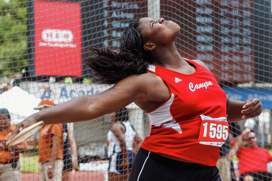 New Braunfels Canyon's Chamaya Turner won the 4A girls' discus with a throw of 160-02 during the UIL state track meet at Mike A. Myers Stadium, University of Texas in Austin on May 11, 2012.MARVIN PFEIFFER/ mpfeiffer@express-news.net Photo: MARVIN PFEIFFER, Marvin Pfeiffer/ Express-News / Express-News 2012
