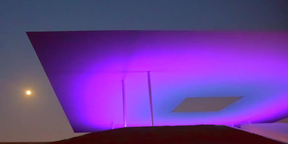 Robert Flatt recently captured the full moon at RiceÕs new James Turrell Skyscape exhibit.