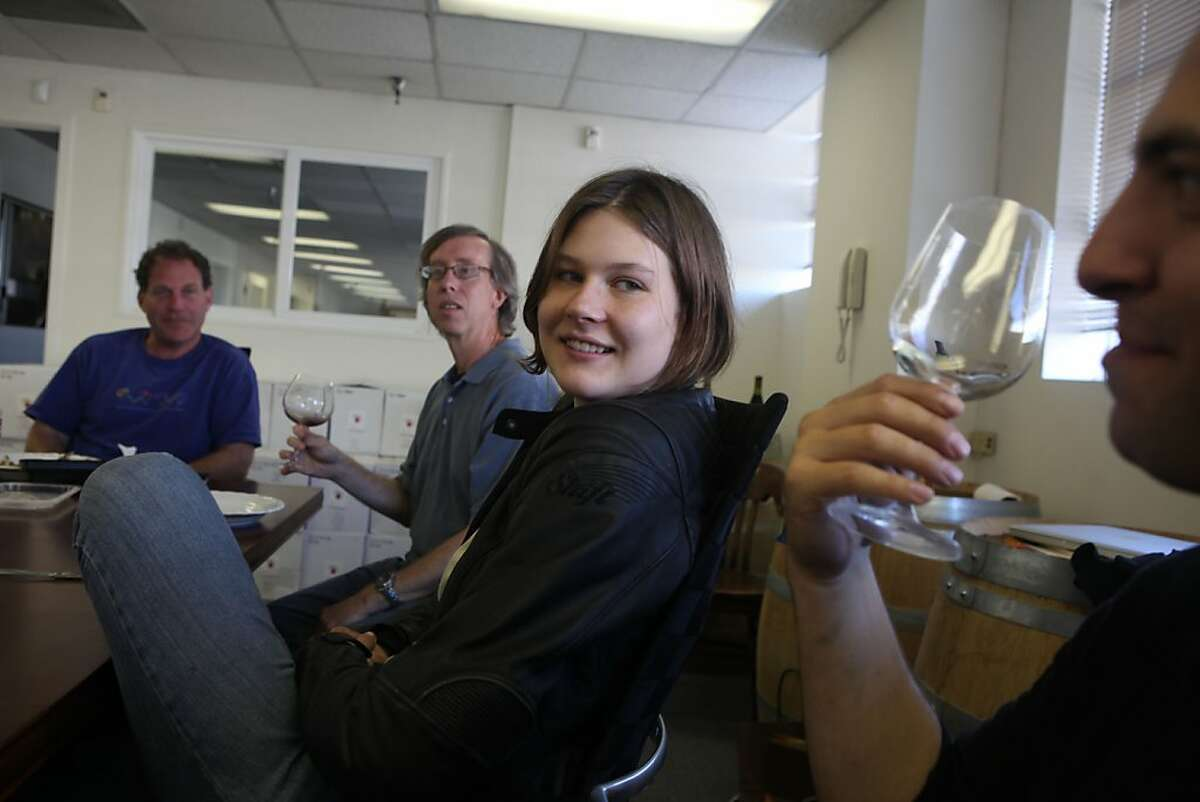 Left to right--August West partner Ed Kutzman, Ken Zinns, intern Danielle (name tko) and Roar manager Adam Franscioni in San Francisco, Calif., guessing a few mystery wines while having lunch on Wednesday, September 21, 2011.