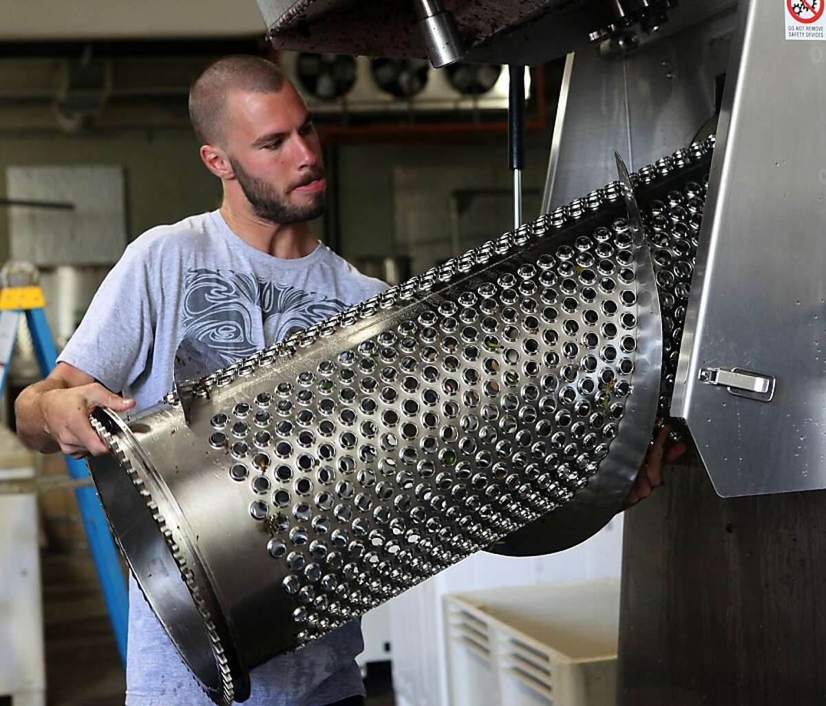 Intern Nathan Scott placing the destemmer basket back after cleaning it at August West winery in San Francisco, Calif., on Wednesday, September 21, 2011.