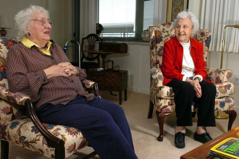Jan Park and Tillie Faulkner, both residents at The Watermark at 3030 Park, in Bridgeport, Conn. share stories about their days working at Family Services Woodfield Nov. 12th, 2009. Now called FSW, the non-profit human services agency, headquartered in Bridgeport, is marking its 160th anniversary this year. Photo: Ned Gerard / Connecticut Post
