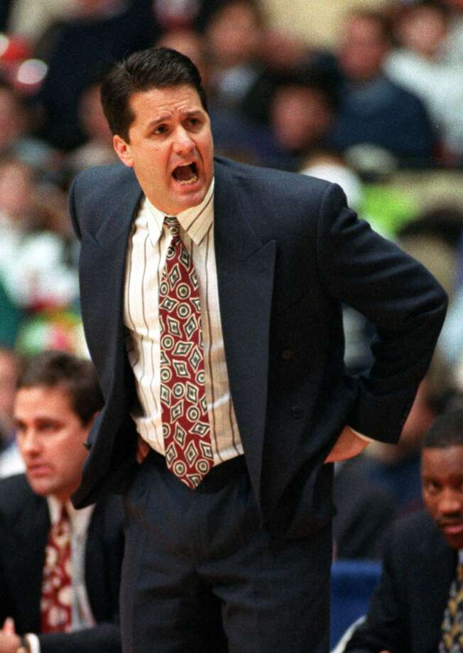 18 JAN 1994:  UMASS HEAD BASKETBALL COACH JOHN CALIPARI SHOUTS INSTRUCTIONS TO HIS PLAYERS DURING A 78-76 LOSS TO DEPAUL. Mandatory Credit: Jonathan Daniel/ALLSPORT Photo: Jonathan Daniel, Getty Images / Getty Images North America