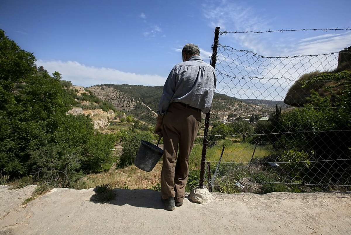 In this photo taken Sunday, May 6, 2012 Palestinian farmer Elayan Shami, 62, stands near his field in the West Bank village of Battir. Residents of Battir, one of the last West Bank farming villages that still uses irrigation systems from Roman times say the village's ancient way of life is in danger as Israel prepares to lay down its West Bank separation barrier. (AP Photo/Sebastian Scheiner)
