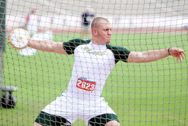 LC-M discus thrower Hayden Reed wins the Class 4A boys state title with a winning throw of 196 ft., 2-inches at the UIL Track & Field State meet at Mike A. Myers Stadium in Austin. May 11, 2012.  Valentino Mauricio/The Enterprise Photo: Valentino Mauricio