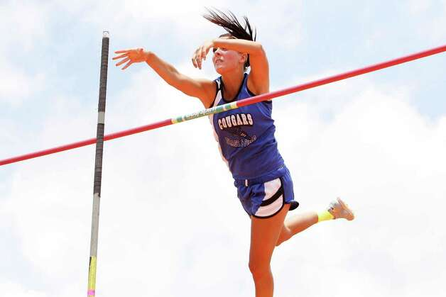 Nicole Casper of Buna vaults to a first place finish in the 2A girls pole vault during the  UIL Track & Field State Championships at Mike A. Myers Stadium at the University of Texas at Austin. May 11, 2012.  Valentino Mauricio/The Enterprise Photo: Valentino Mauricio