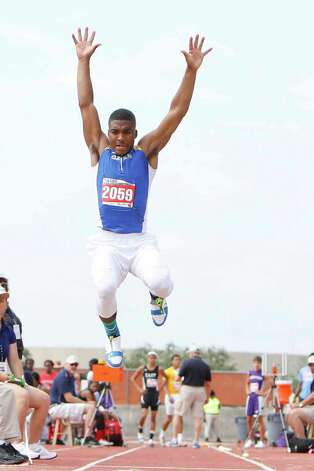 Jakobi Jones of Ozen competes in the 4A boys long jump at the UIL Track & Field State Championships at Mike A. Myers Stadium at the University of Texas at Austin. May 11, 2012.  Valentino Mauricio/The Enterprise Photo: Valentino Mauricio