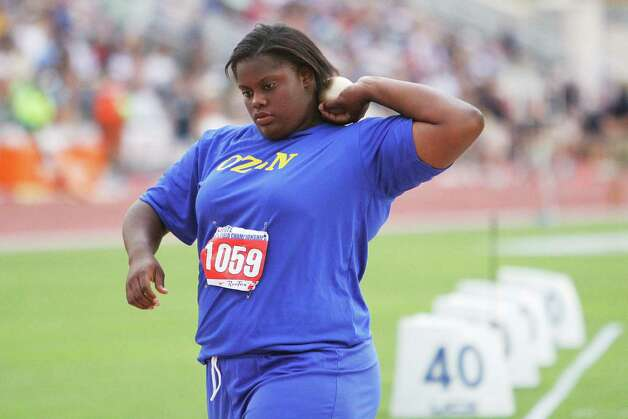 Ozen's Nekia Jones competes in the 4A girls shot put during the UIL Track & Field State Championships at Mike A. Myers Stadium at the University of Texas at Austin. May 11, 2012.  Valentino Mauricio/The Enterprise Photo: Valentino Mauricio