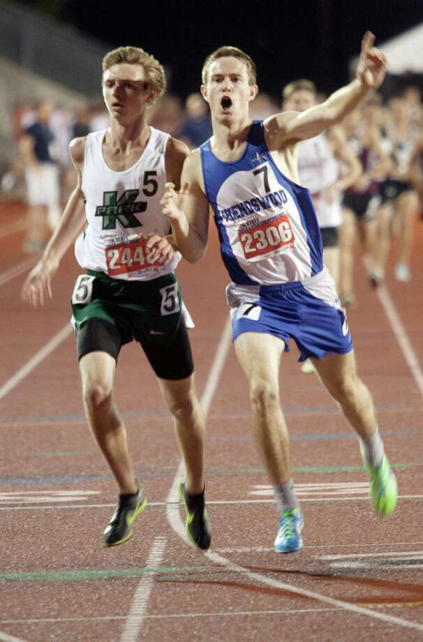 Thao Nguyen/FOR HOUSTON CHRONICLE 05/11/12  Ryan Teel of Friendswood reacts after his win during the boy's 1600 meter run during the UIL 4A state track meet at Mike A. Myers Track & Soccer Stadium in Austin, Texas on May 11, 2012. Photo: Thao Nguyen, Houston Chronicle / Thao Nguyen
