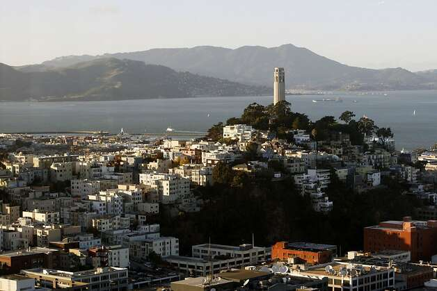 Coit Tower was built in Pioneer Park atop Telegraph Hill in 1933 at the bequest of Lillie Hitchcock Coit to beautify the City of San Francisco and pay tribute to its fireman. File photo dated May 13, 2008. Photo: Lance Iversen, The Chronicle