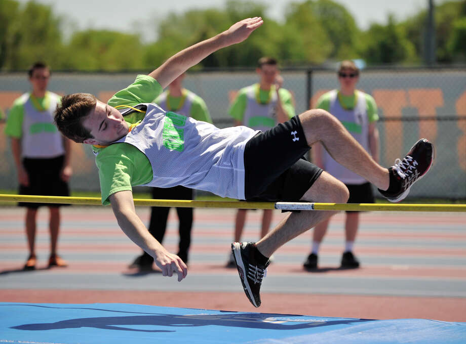 Matt Bennett, of Seymour, competes in the high jump during the Special Olympics Connecticut Northwest Regional Games at Danbury High School on Saturday, May 12, 2012. Photo: Jason Rearick / The News-Times