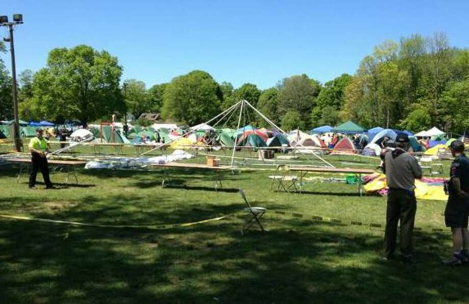 A strong wind gust damaged a tent at the Orange Fairgrounds and injured at least four individuals Saturday afternoon at this year's Connecticut Yankee Boy Scouts ConnJam 2012, police said. Photo: Contributed Photo/ Christoper Lu, Contributed Photo / Connecticut Post Contributed