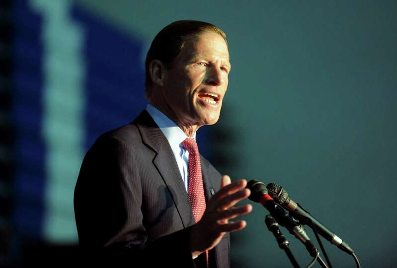 Sen. Richard Blumenthal speaks during the Democratic State Convention at Central Connecticut State U