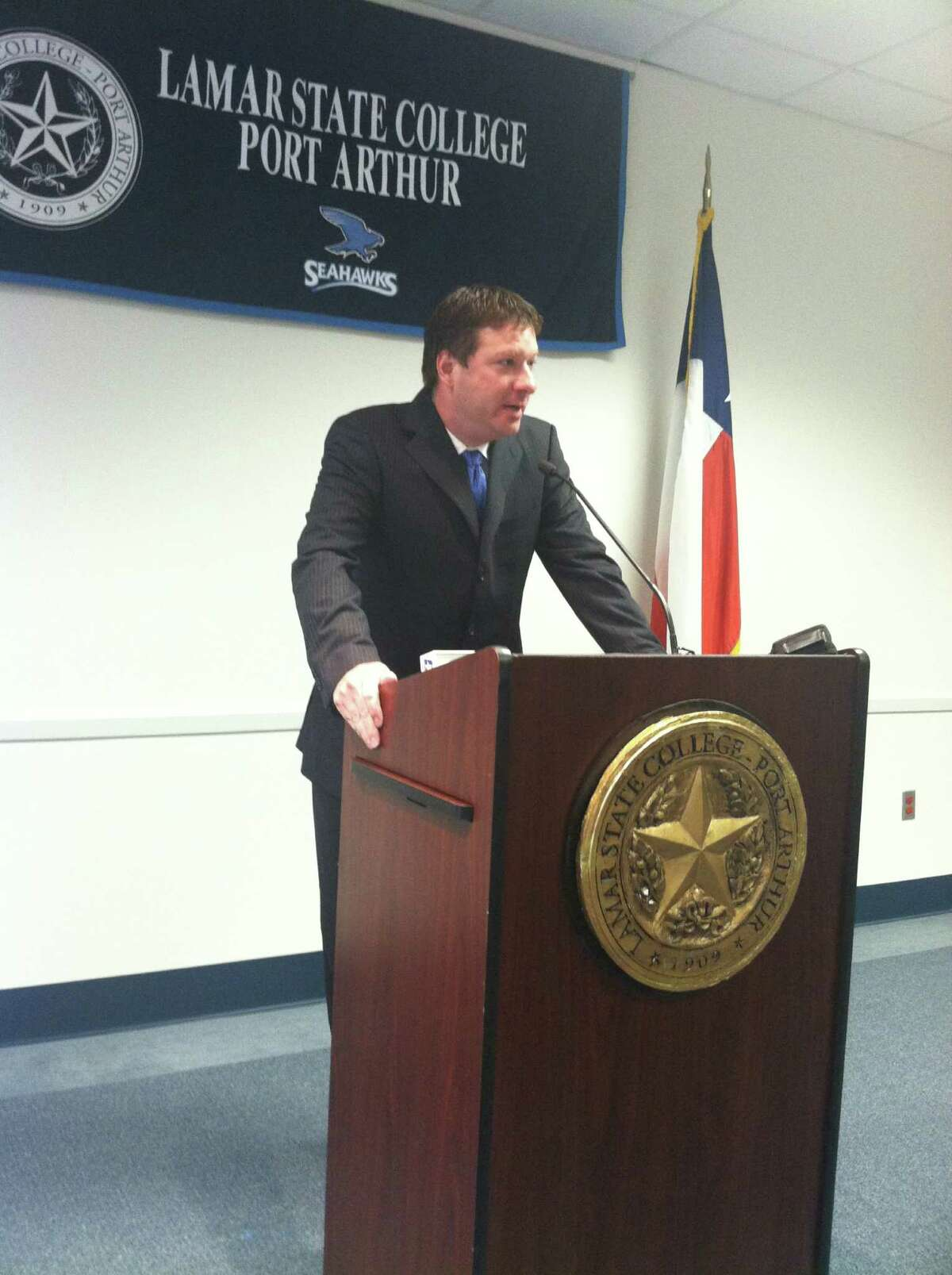 Chris Beard was named the Lamar State College-Port Arthur men's basketball coach during a press conference Tuesday, May 8, 2012.