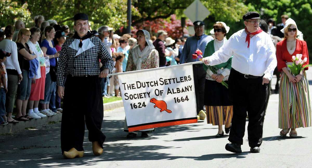 The Dutch Settlers Society of Albany walks in the Tulip Queen procession during the Tulip Festival on Saturday, May 12, 2012, at Washington Park in Albany, N.Y. (Cindy Schultz / Times Union)