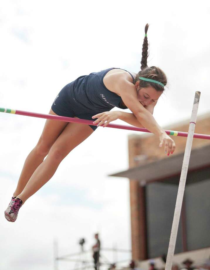 Thao Nguyen/FOR HOUSTON CHRONICLE 05/12/12  Anna Rawles of Seven Lakes tied for fifth during the girls 5A pole vault event at the UIL state track meet at Mike A. Myers Track & Soccer Stadium in Austin, Texas on May 12, 2012. Photo: Thao Nguyen, Houston Chronicle / Thao Nguyen