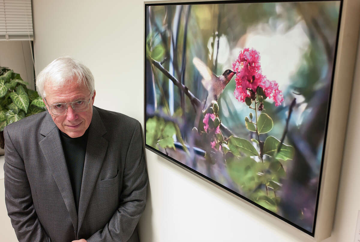 Rice professor Robert Flatt, a former Houston Sierra Club chairman, unveiled some prints of his photography at a reception at the Baylor College of Medicine's neurology clinic in September 2011.