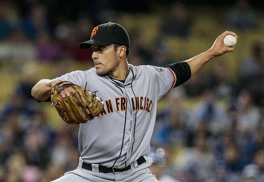 San Francisco Giants relief pitcher Javier Lopez throws to the plate during the eighth inning of a baseball game, Tuesday, May 8, 2012, in Los Angeles. The Giants won 2-1. (AP Photo/Bret Hartman) Photo: Bret Hartman, Associated Press