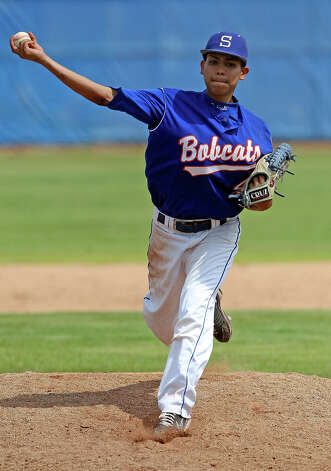 Bobcat pitcher Eric Garcia became a point of controversy as Johnson beats South San 5-4 in the final game of a three game series at South San High School on May 12, 2012.  Tom Reel/ San Antonio Express-News Photo: TOM REEL, Express-News / San Antonio Express-News