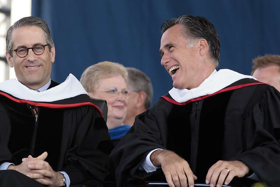 LYNCHBURG, VA - MAY 12: Republican presidential candidate and former Massachusetts Gov. Mitt Romney (R) shares a laugh with advisor Mark Demoss before delivering the commencement address at Arthur L. Williams Stadium on the campus of Liberty University on May 12, 2012 in Lynchburg, Virginia. Liberty University is one of the country's largest Christian colleges.  (Photo by Jared Soares/Getty Images) Photo: Jared Soares, Getty Images