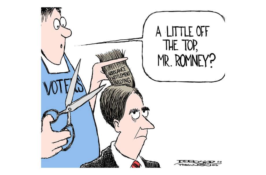 """Mitt Romney """"apologizes"""" for bullying haircut incident. Photo: John De Rosier"""