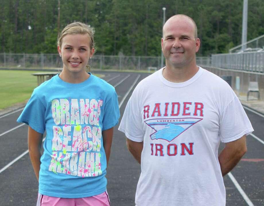Jordan Welborn and her track coach, Randy Richard. Photo: David Lisenby, HCN_Weoborn