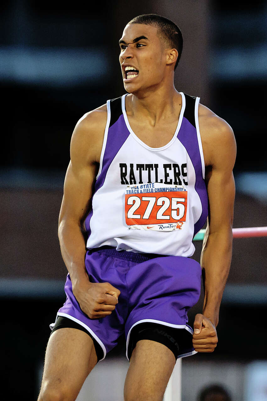 San Marcos's Allex Austin reacts after jumping 7-0 to win the 5A boys' high jump during the UIL state track meet at Mike A. Myers Stadium, University of Texas in Austin on May 12, 2012. MARVIN PFEIFFER/ mpfeiffer@express-news.net.