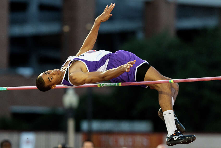 San Marcos's Allex Austin jumps 7-0 to win the 5A boys' high jump during the UIL state track meet at Mike A. Myers Stadium, University of Texas in Austin on May 12, 2012.  MARVIN PFEIFFER/ mpfeiffer@express-news.net Photo: Express-News