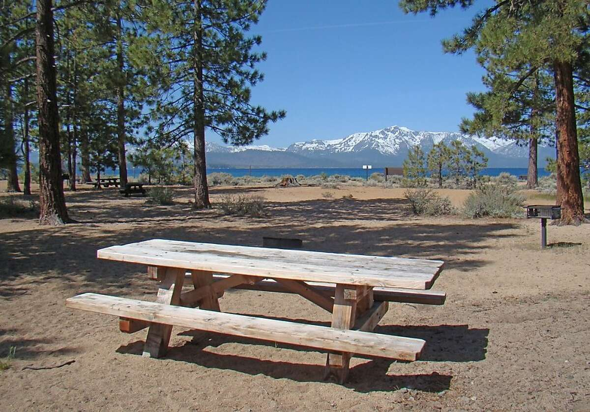 Nevada Beach Campground at Lake Tahoe, captured in photo Thursday morning a day prior to Friday's opening. Photo: Lisa Herron / U.S. Forest Service