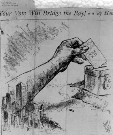 The special election on Nov. 4, 1930 to allow bonds to be sold to build the Golden Gate Bridge was bitterly fought. One weapon: blunt editorial cartoons that exalted the bridge as progress and attacked opponents as old fogeys or nefarious trusts. Photo: Golden Gate Bridge, Highway And , SEE SPECIAL INSTRUCTIONS