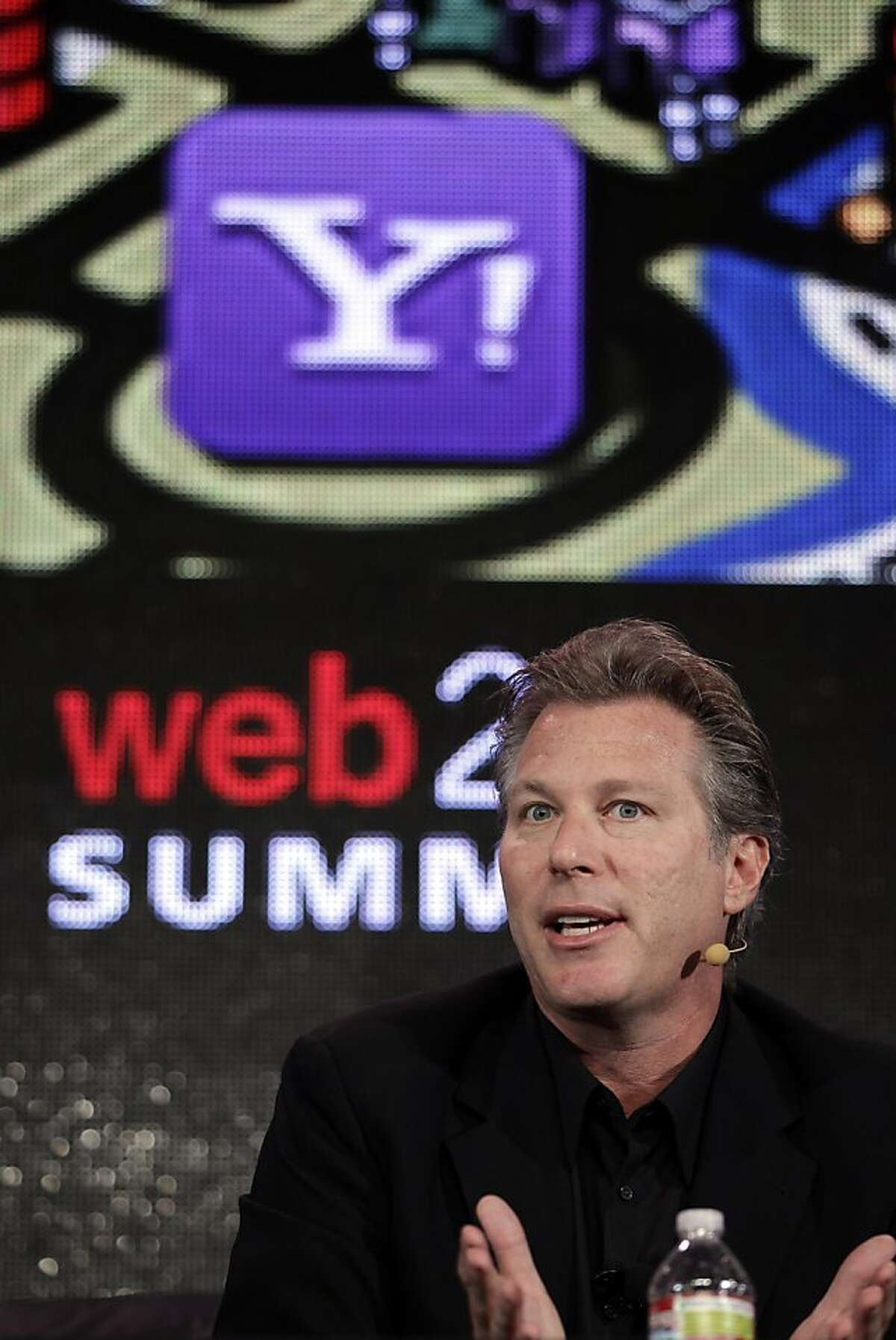 FILE - In this Oct. 17, 2011 file photo, Ross Levinsohn, Yahoo Executive Vice President of Americas, speaks at the Web. 2.0 Summit in San Francisco. Scott Thompson, named CEO of Yahoo in January, reportedly will step down Sunday, May 13, 2012 amid controversy over mentions on his resume and in regulatory filings of a computer science degree he never received. Yahoo says it is appointing Levinsohn as interim CEO and Fred Amoroso as chairman of its board, effective immediately. (AP Photo/Paul Sakuma, File)