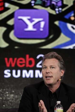 FILE - In this Oct. 17, 2011 file photo, Ross Levinsohn, Yahoo Executive Vice President of Americas, speaks at the Web. 2.0 Summit in San Francisco. Scott Thompson, named CEO of Yahoo in January, reportedly will step down Sunday, May 13, 2012 amid controversy over mentions on his resume and in regulatory filings of a computer science degree he never received. Yahoo says it is appointing Levinsohn as interim CEO and Fred Amoroso as chairman of its board, effective immediately. (AP Photo/Paul Sakuma, File) Photo: Paul Sakuma, Associated Press