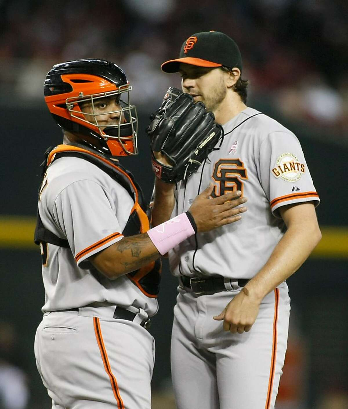 PHOENIX, AZ - MAY 13: Catcher Hector Sanchez #29 of the San Francisco Giants visits the mound for a conversation with pitcher Barry Zito #75 during the fourth inning of a MLB game against the Arizona Diamondbacks at Chase Field on May 13, 2012 in Phoenix, Arizona. (Photo by Ralph Freso/Getty Images)