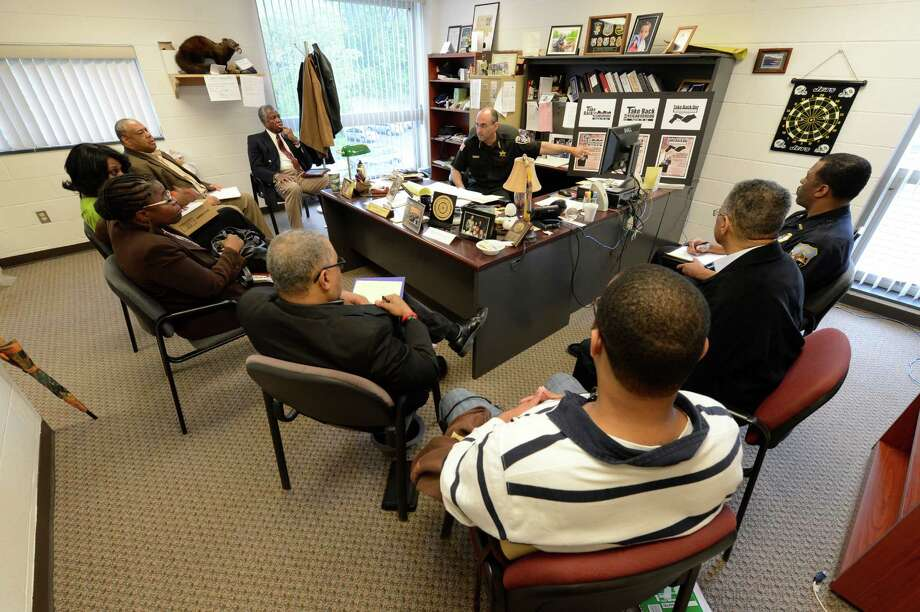 Schenectady County Sheriff Dominic Dagostino is joined by local community leaders at his office in Schenectady, N.Y., in discussing a gun buyback program for the county May 10, 2012.   (Skip Dickstein / Times Union) Photo: SKIP DICKSTEIN / 2012