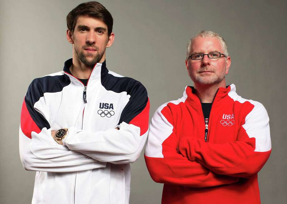 DALLAS, TX - MAY 13:  Swimmer, Michael Phelps and his coach, Bob Bowman pose for a portrait during the 2012 Team USA Media Summit on May 13, 2012 in Dallas, Texas. Photo: Nick Laham, Getty Images / 2012 Getty Images
