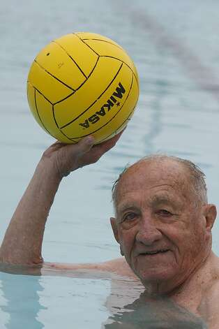 Alex Tarics, 98 years old, throws a ball during a morning swim at Belvedere Tennis Club in Tiburon, Calif., on Thursday,  May 3, 2012.  Alex is the oldest living olympic gold medalist.  He won the medal playing water polo during the 1936 olympics . Photo: Liz Hafalia, The Chronicle