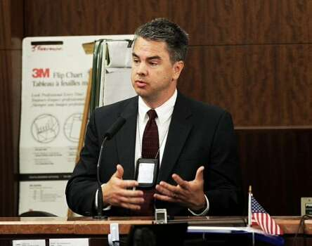 Houston police Sgt. Thomas Griffin testifies in the trail against former HPD officer Andrew Blomberg Monday, May 14, 2012, in Houston. Blomberg is on trial for official oppression in the video taped 2010 beating of 15-year-old Chad Holley. ( Brett Coomer / Houston Chronicle )