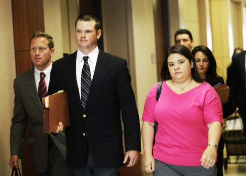Former Houston police officer Andrew Blomberg arrives to court Monday, May 14, 2012, in Houston. Blomberg is on trial for official oppression in the video taped 2010 beating of 15-year-old Chad Holley. ( Brett Coomer / Houston Chronicle )