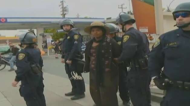 Police arrested nine people early Monday as they cleared out the small group of protesters who had set up an urban farming camp on UC Berkeley agricultural research land in Albany. Photo: Cbs5