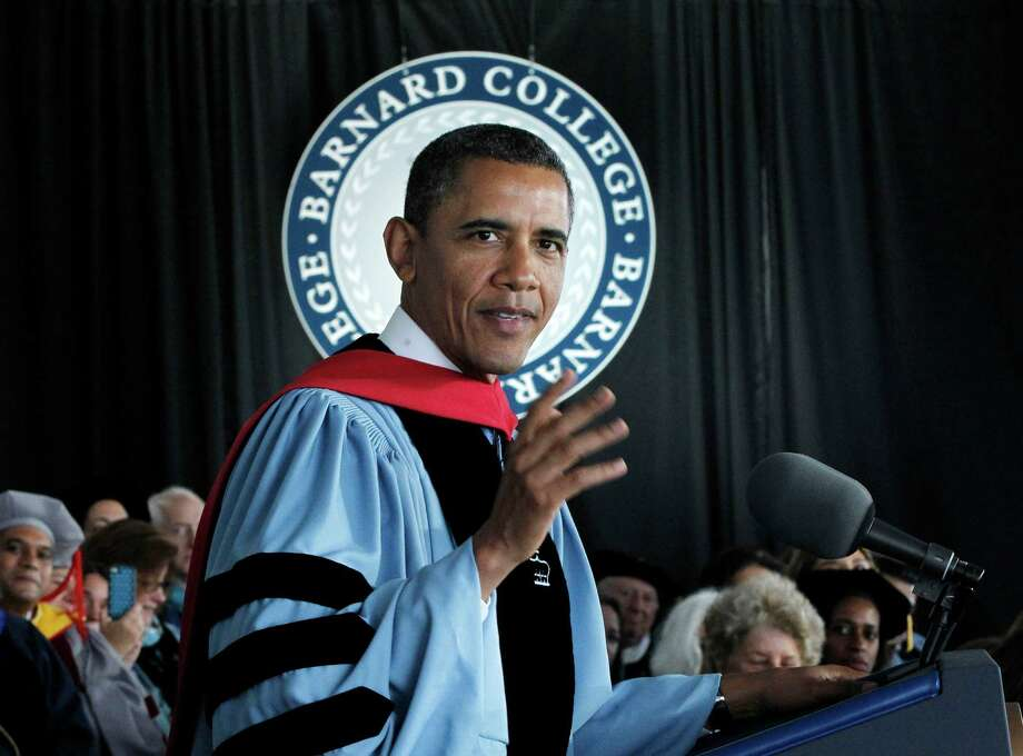 President Barack Obama delivers the commence address at Barnard College, Monday, May 14, 2012, in New York. (AP Photo/Pablo Martinez Monsivais) Photo: Pablo Martinez Monsivais, Associated Press / AP