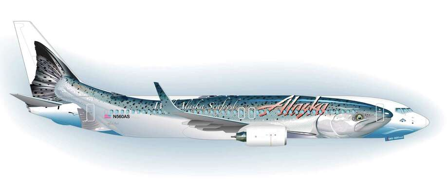 The new 'Salmon-Thirty-Salmon II' design for an Alaska Airlines Boeing 737-800. Photo: Alaska Airlines