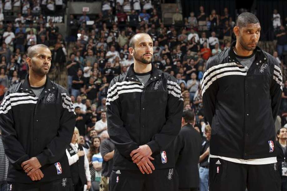 Spurs vs. Clippers matchups Express-News Spurs beat writer Jeff McDonald profiles the key players and matchups in the Western Conference semifinal series between the No. 1 seed Spurs and No. 5 seed Los Angeles Clippers. Pictured: San Antonio Spurs' Tony Parker (from left), Manu Ginobili, and Tim Duncan stand during the national anthem before Game 1 of the Western Conference first round with the Utah Jazz Sunday April 29, 2012 at the AT&T Center.  (EDWARD A. ORNELAS / SAN ANTONIO EXPRESS-NEWS)
