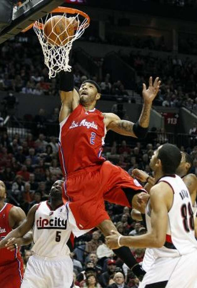 Bench matchup: Clippers (2) F Kenyon Martin (6-9, 12th yr): Played 18.4 minutes per game vs. Memphis and averaged 4.7 points, 3.4 rebounds and 1.9 blocks. Pictured: Los Angeles Clippers' Kenyon Martin (2) dunks the ball as Portland Trail Blazers' Raymond Felton (5) and teammate Nicolas Batum (88) look on in the first quarter during an NBA basketball game on Thursday, Feb.16, 2012, in Portland, Ore. (AP)