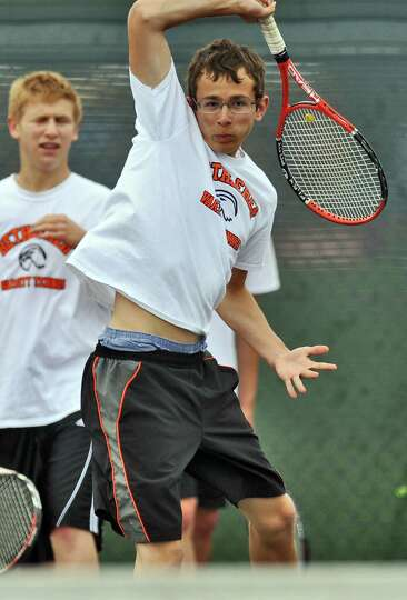 Bethlehem High School boys tennis player Nick Mashuta practices as he and teammates awaited their op